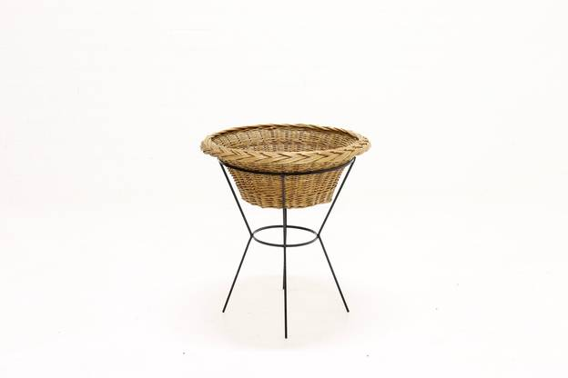 Mid Century Rattan and Metal Magazine Basket 1960s