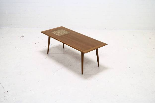 Mid Century Teak with Mosaic Inlay Coffee Table, 1950's