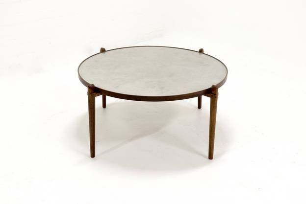 Etched Circular Coffee Table Designed by Heinz Lilienthal 1960s