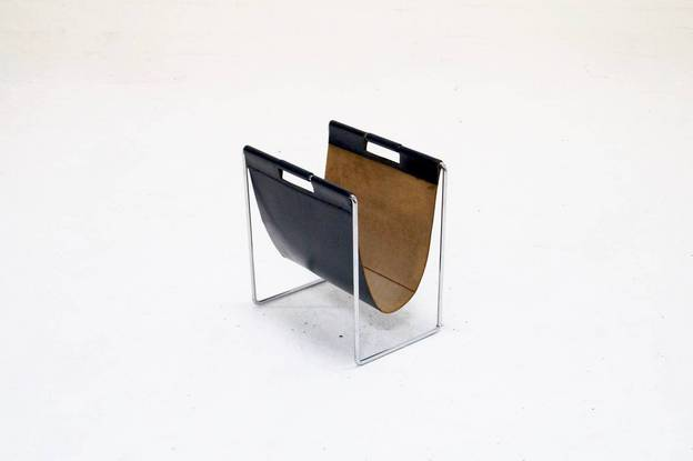 Brabantia Magazine Rack Leather & Chrome, 1970s