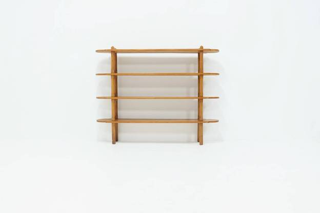 French Bookcase Room Divider in Solid Elm 1950s