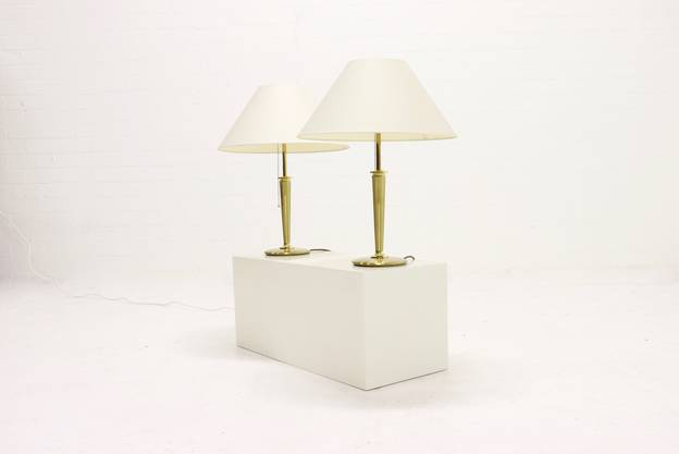 Set of 2 Heavy Brass Table Lamps BM Leuchten 1980s