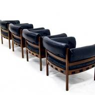 Set of 4 Lounge Chairs by Arne Norell for AB Sweden, 1960's