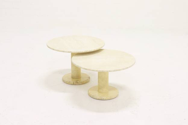 Set of 2 Italian Travertine Side Tables or Coffee Table 1970s