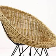 Mid Century Rattan and Wire Steel Lounge Chair by Urotan, 1960's