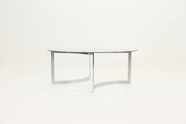 Brushed Metal and Glass Coffee Table by Paul Legeard, 1970s