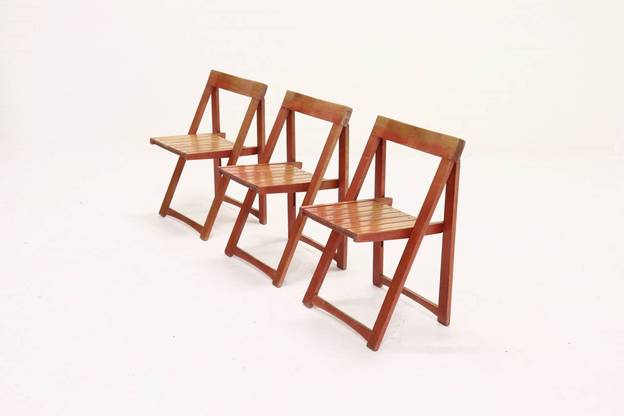 Set of 3 Folding Chairs by Aldo Jacober for Habitat Italy 1960s