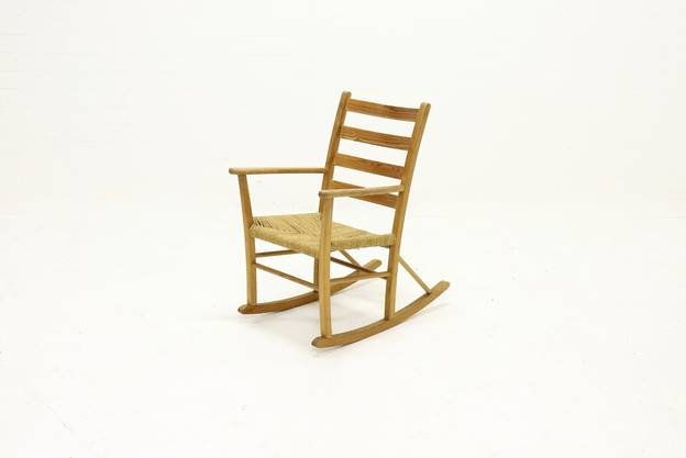 French Pine and Sisal Rocking Chair 1950s