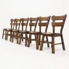 Set of 6 Brutalist Oak Spanish Dining Chairs 1950s