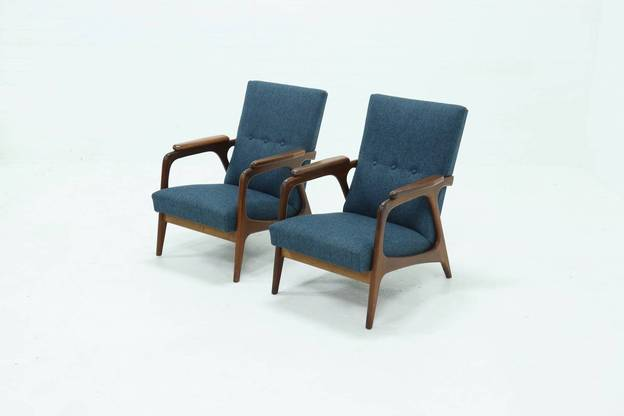 *New Upholstery* Set of 2 Teak Topform Armchairs 1960s