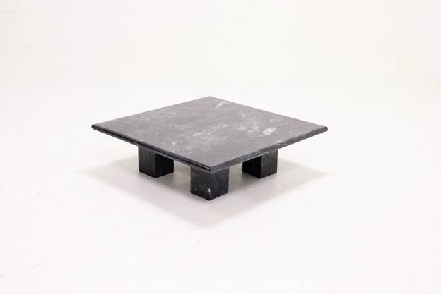 Mid Century Italian Design Black Marble Coffee Table 1970s