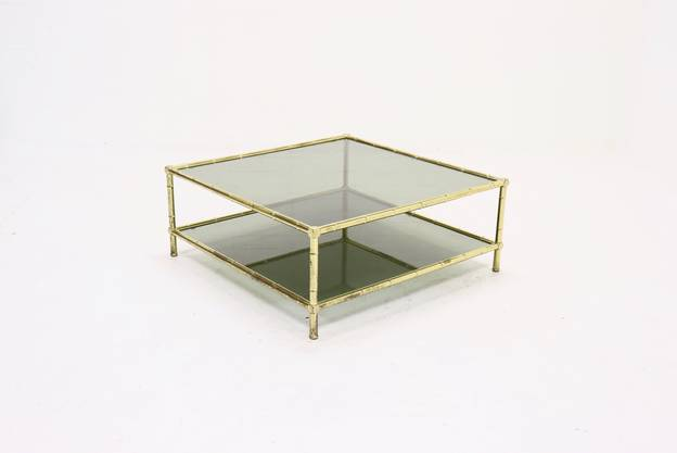 Mid Century Italian Brass Faux Bamboo Glass Coffee Table from the 1970s