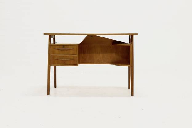 Mid-Century Danish Teak Floating Desk by Gunnar Nielsen for Tibergaard 1960s