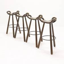Set of 4 Brutalist Spanish Marbella Bar Stools, 1950s