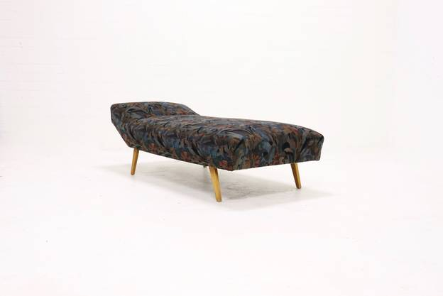 Mid Century Daybed with Floral Upholstery 1950s