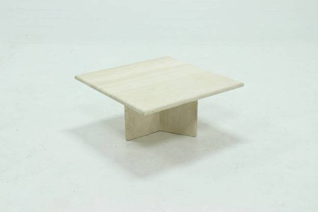 Mid Century Italian Modern Travertine Coffee Table 1970s
