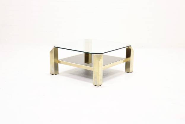 Belgo Chrome Coffee Table 23k Gold Plated 1970s