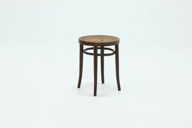 Vintage Bentwood Round Stool with Rattan Webbing 1960s