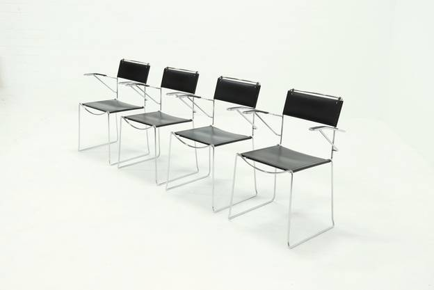 Set of 4 Italian Leather Dining Chairs by Giandomenico Belotti for Alias 1980s
