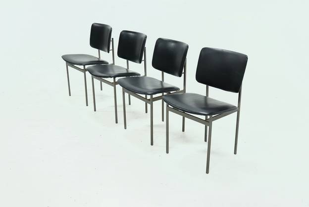 Set of 4 Metal and Skai Dining Chairs 1960s