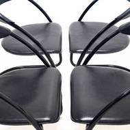Set of 4 Modern Italian Design Tubular Dining Chairs 1980s
