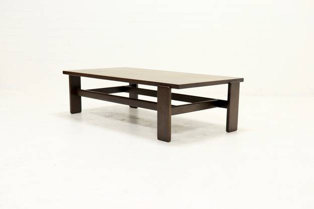 Asymmetrical Solid Wenge Wooden Coffee Table 1960s