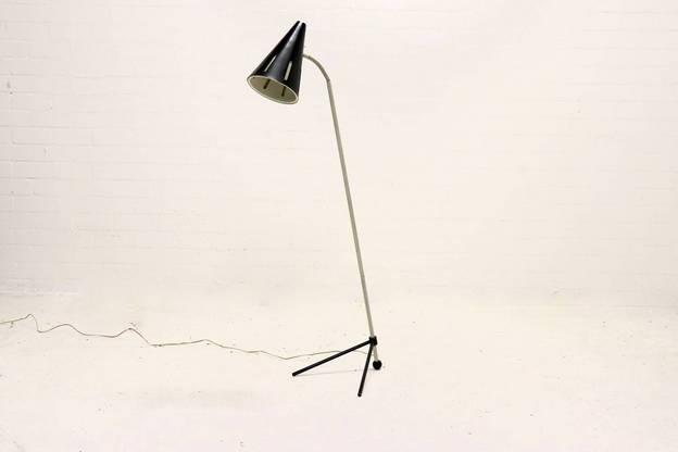"Rare ""Sun Series"" Floor Lamp by H. Busquet for Hala Zeist, 1950s."