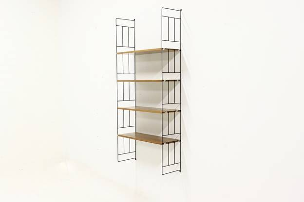 Mid Century Metal and Teak Ladder shelf by WHB 1960s