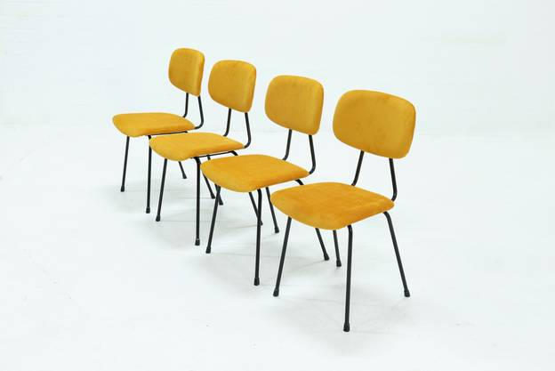 Set of 4 New Upholstered Kembo Dining Chairs in Yellow Ribcord 1950s