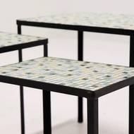Set of 3 Mid Century Nesting Tables With Mosaic Inlay 1960's