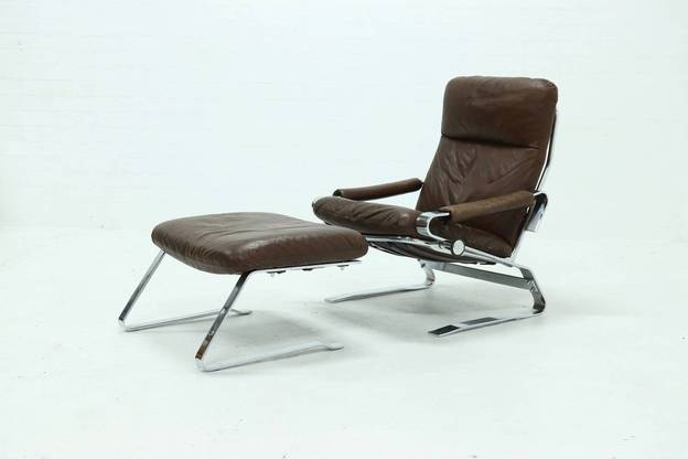 Mid Century Chrome and Leather Recliner Chair & Ottoman 1960s