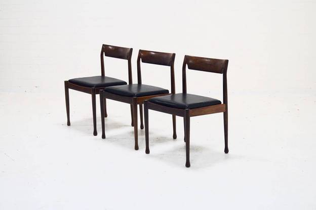 Set of 3 Danish Design Rosewood Dining Chairs, 1960s