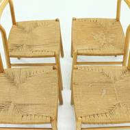 Set of 4 Italian Rope and Beech Dining Chairs 1960s