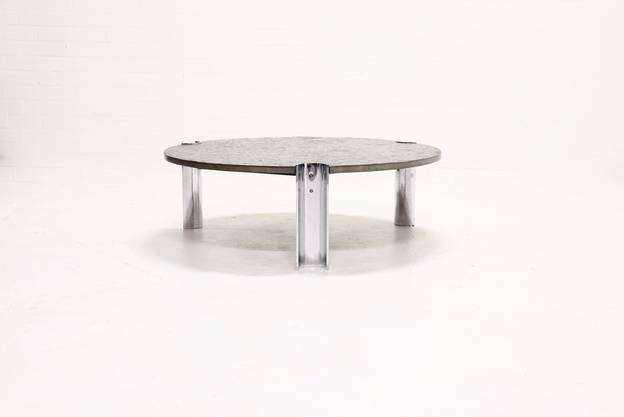 Brazilian Limestone and Chrome Coffee Table with Fossils, 1970s