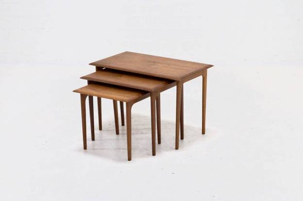 Set of 3 Mid-Century Teak Nesting Tables Danish Design, 1960s