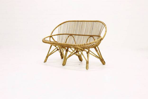 Mid-Century Rattan 2 Seater Lounge Sofa by Rohé Noordwolde 1960's