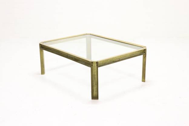 Brutalist Cast Brass T09 Embassy Coffee Table by Peter Ghyczy 1970s