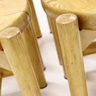Set of 4 Pitch Pine Stools Scandinavian Design 1960s