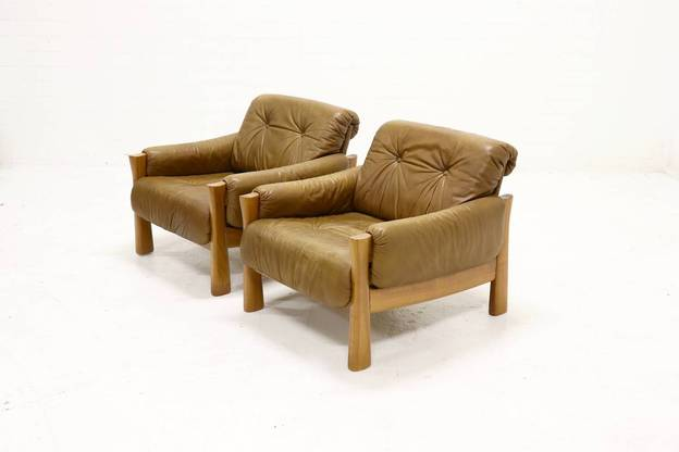 Set of 2 Percival Lafer Style Armchairs in Leather, 1960s
