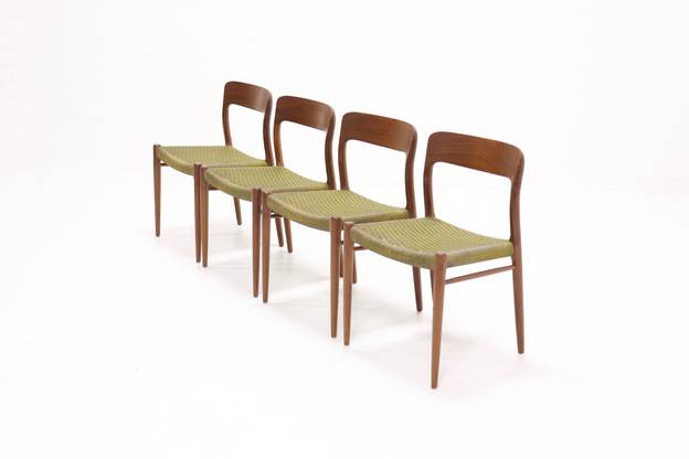 Set of 4 Teak No.75 Dining chairs N.O. Møller for JL Møller 1960s
