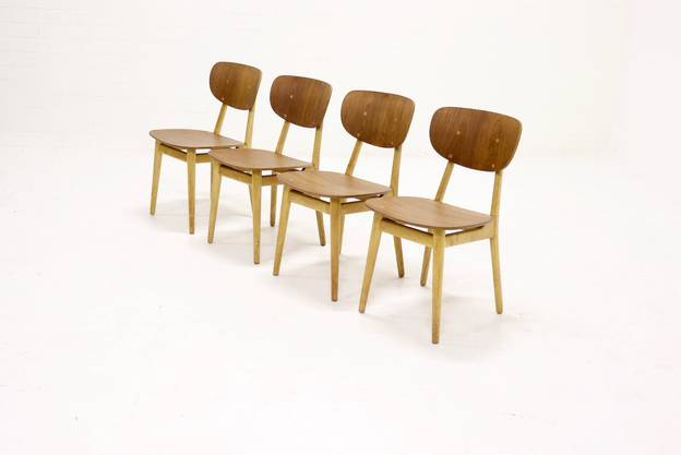 Set of 4 Pastoe SB13 dining chairs by Cees Braakman 1950s