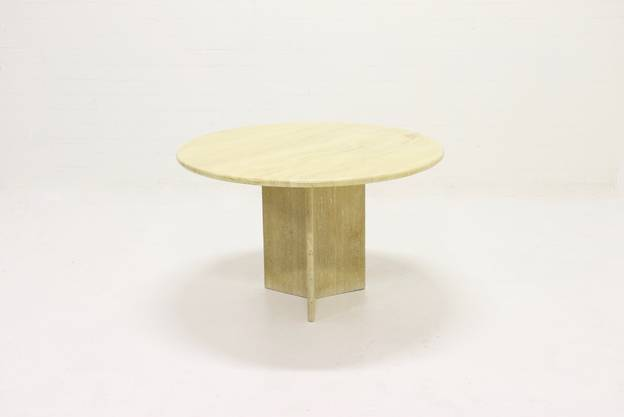 Italian Round Travertine Dining Table Up&up 1970s