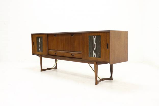 Sculptural Teak Sideboard by Louis van Teeffelen and Ravelli for WeBe 1950s