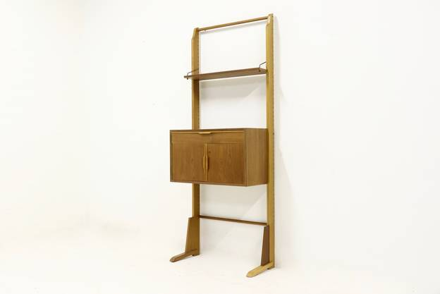 Mid-Century Oak and Teak Free Standing Wall Unit 1950s