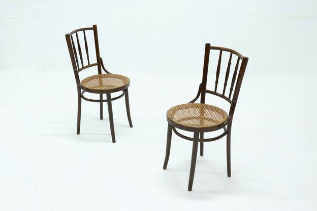 Set of 2 Cane & Bentwood Dining Chairs, 1950s