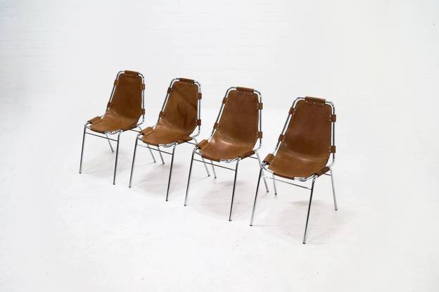 Set of 4 Charlotte Perriand Dining Chairsfor Les Arcs