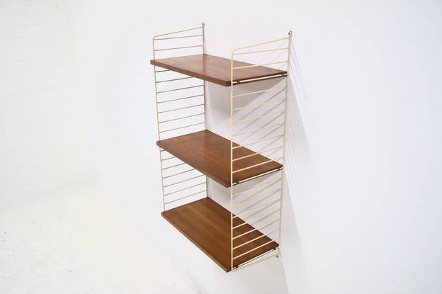 Nils Strinning teak 'ladder shelf' Wall unit Nisse String AB Sweden, 1960s