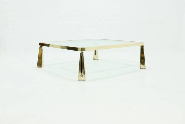 Rare Large Sculptural Solid Brass Coffee Table by Peter Ghyczy 1980s