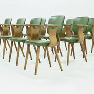 Set of 10 Mid Century Dining Chair by Cor Alons for Gouda den Boer 1953