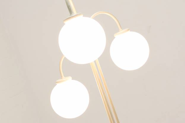 Mid Century White Floor Lamp with 3 Glass Globes 1970s